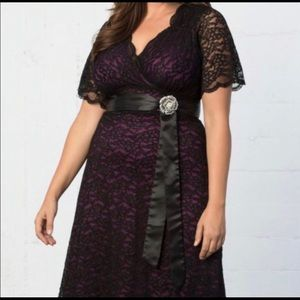 2X Kiyonna Black Lace Dress with Magenta Liner